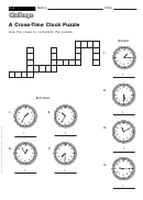A Cross-time Clock Puzzle - Math Worksheet With Answers