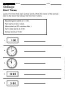 Start Times - Math Worksheet With Answers