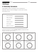 A Saturday Schedule - Math Worksheet With Answers