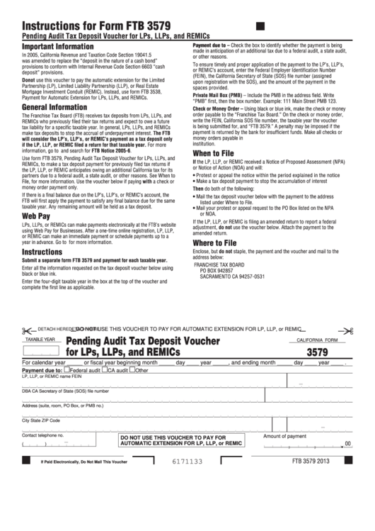 California Form 3579 - Pending Audit Tax Deposit Voucher For Lps, Llps, And Remics Printable pdf
