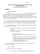 Written Information Security Program (wisp) For Protection Of Personal Information Template