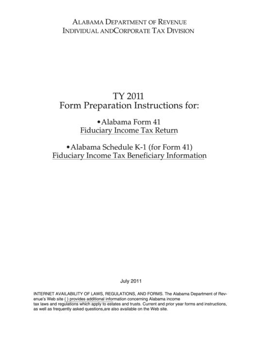Alabama Form 41 Instructions - Fiduciary Income Tax Return - 2011