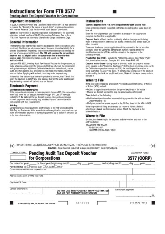 California Form 3577 (Corp) - Pending Audit Tax Deposit Voucher For Corporations Printable pdf