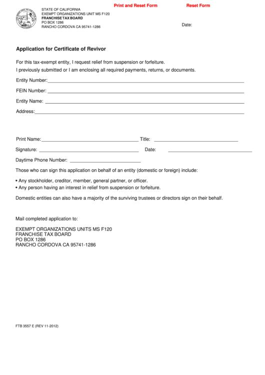 Fillable Form Ftb 3557 E - Application For Certificate Of Revivor Printable pdf