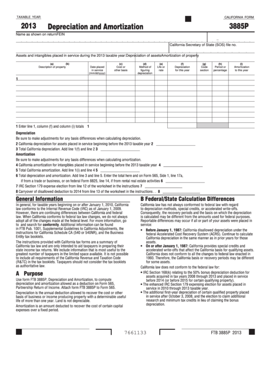 Fillable California Form 3885p - Depreciation And Amortization - 2013 Printable pdf