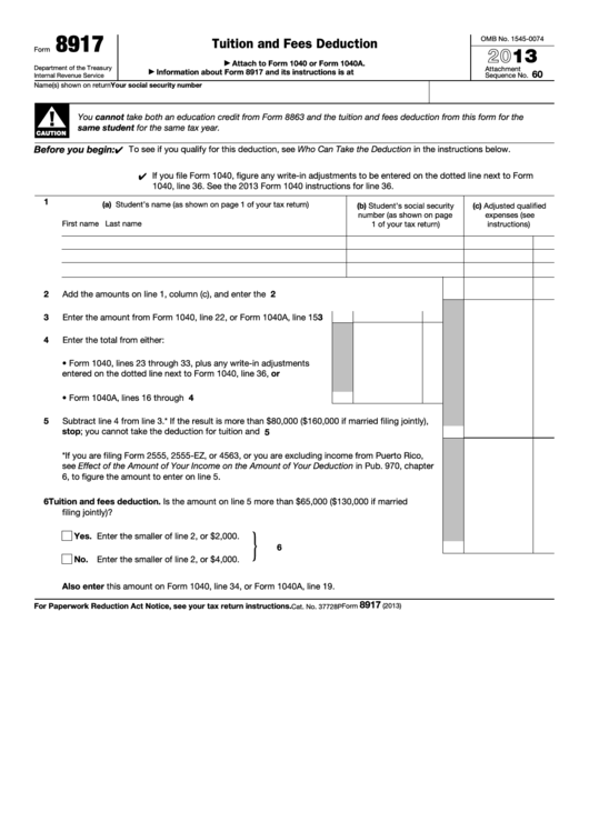 Fillable Form 8917 Tuition And Fees Deduction 2013 Printable Pdf