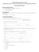 Application For Sales And Use Tax Exemption For Nonprofit Organizations