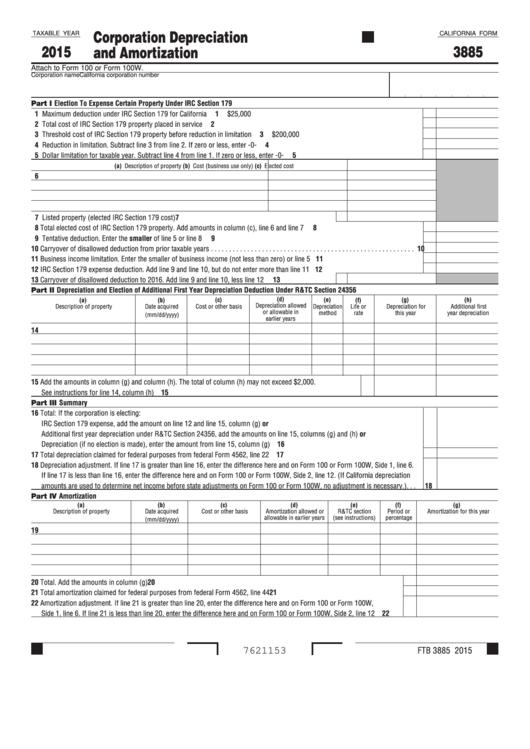 Fillable Form 3885 - California Corporation Depreciation And Amortization - 2015 Printable pdf