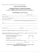 Unclaimed Property Claim Form Request - Commonwealth Of Kentucky