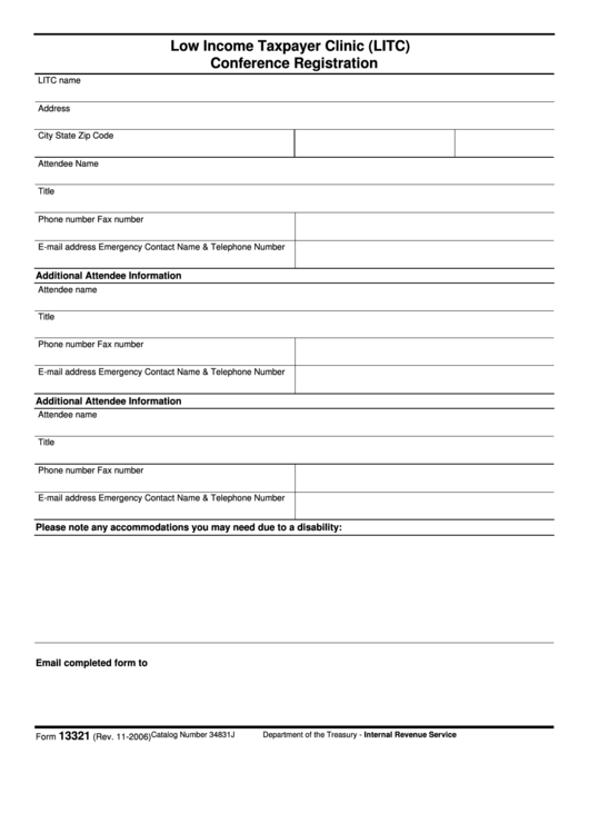 Fillable Form 13321 - Low Income Taxpayer Clinic (Litc) Conference Registration Printable pdf