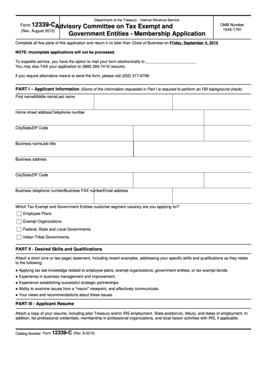 Fillable Form 12339-C - Advisory Committee On Tax Exempt And Government Entities - Membership Application Printable pdf