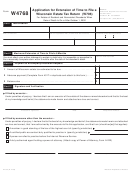 Form W4768 - Application For Extension Of Time To File A Wisconsin Estate Tax Return (w706)