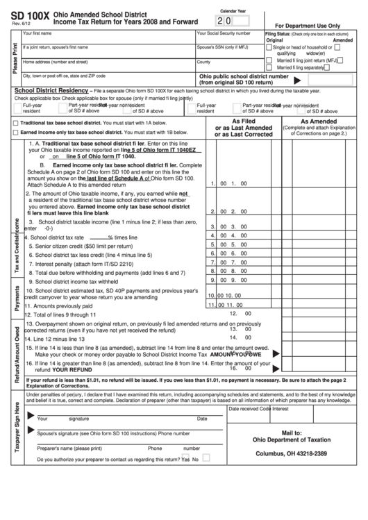 Fillable Form Sd 100x Ohio Amended School District Income Tax