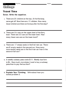 Travel Time - Math Worksheet With Answers