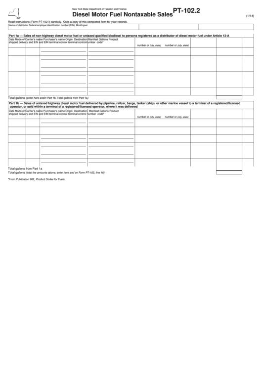 Form Pt-102.2 - Diesel Motor Fuel Nontaxable Sales Printable pdf