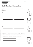 Math Mountain Connections - Math Worksheet With Answers