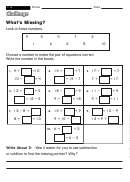 What's Missing - Math Worksheet With Answers