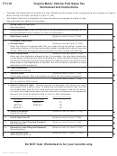 Form Ft-101 - Virginia Motor Vehicle Fuel Sales Tax Worksheet And Instructions