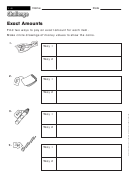Exact Amounts - Math Worksheet With Answers
