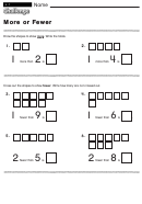 More Or Fewer - Math Worksheet With Answers
