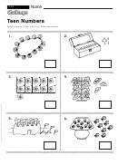 Teen Numbers - Math Worksheet With Answers