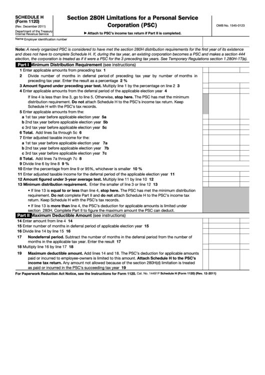 Schedule H (form 1120) - Section 280h Limitations For A Personal Service Corporation (psc)