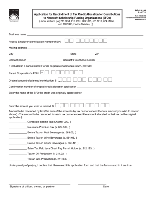 Form Dr-116100 - Application For Rescindment Of Tax Credit Allocation For Contributions To Nonprofit Scholarship Funding Organizations (Sfos) Printable pdf