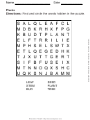 Plants Word Search Puzzle Template