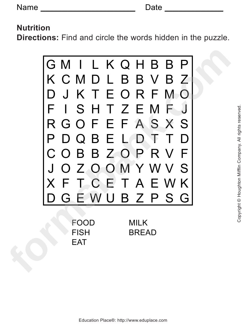 nutrition word search puzzle template printable pdf download