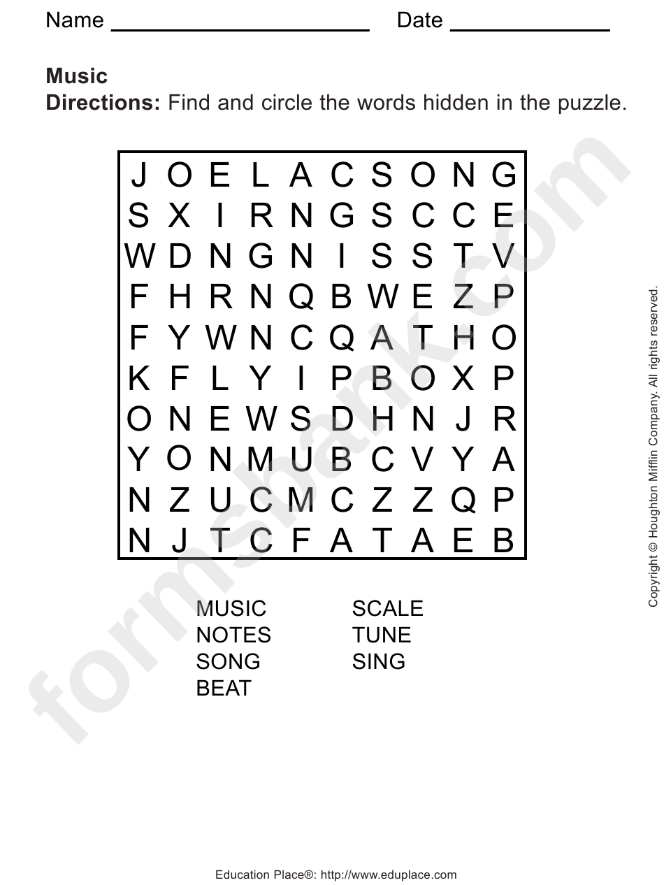 photograph relating to Music Word Search Printable identify Tunes Phrase Look Puzzle Template printable pdf down load