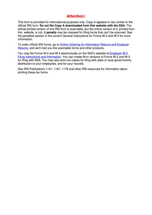 Form W-2vi - U.s. Virgin Islands Wage And Tax Statement - 2016 Printable pdf