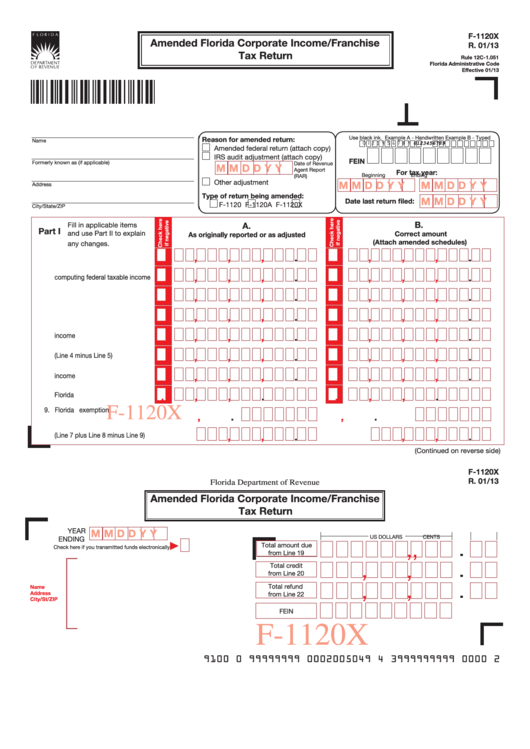 Fillable Form F-1120x - Amended Florida Corporate Income/franchise Tax Return Printable pdf