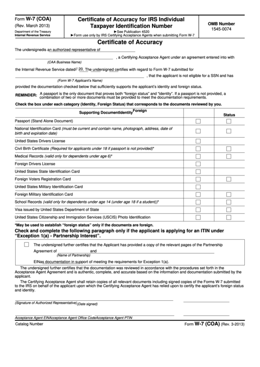 Fillable Form W 7 Coa Certificate Of Accuracy For Irs Individual