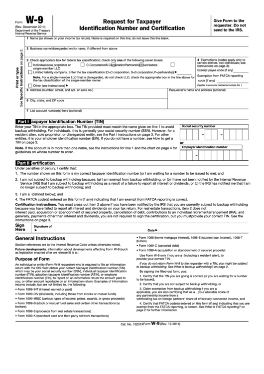 Fillable Form W-9 - Request For Taxpayer Identification Number And Certification - 2014 Printable pdf