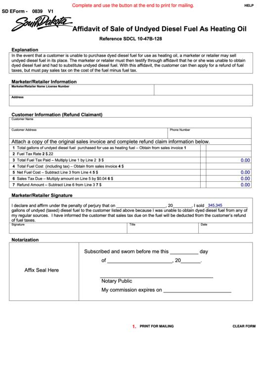 Fillable Sd Eform 0839 V1 - Affidavit Of Sale Of Undyed Diesel Fuel As Heating Oil Printable pdf