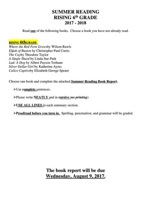 Summer Book Report Form - Summer Reading Rising 6th Grade 2017 - 2018 Printable pdf