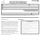 Form It-2104-ind - New York State Certificate Of Exemption From Withholding