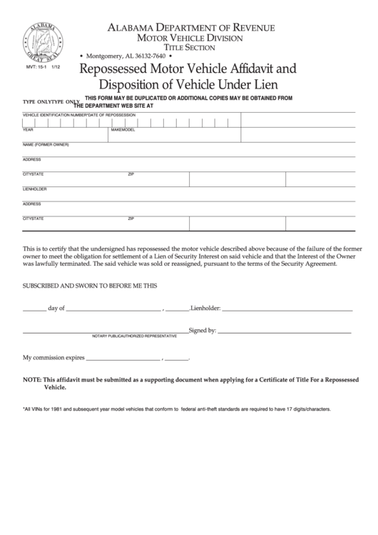 Form Mvt 15-1 - Repossessed Motor Vehicle Affidavit And Disposition Of Vehicle Under Lien