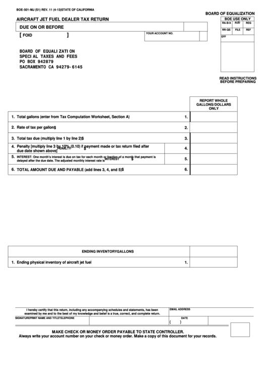 Fillable Form Boe-501-Mj - Aircraft Jet Fuel Dealer Tax Return Printable pdf