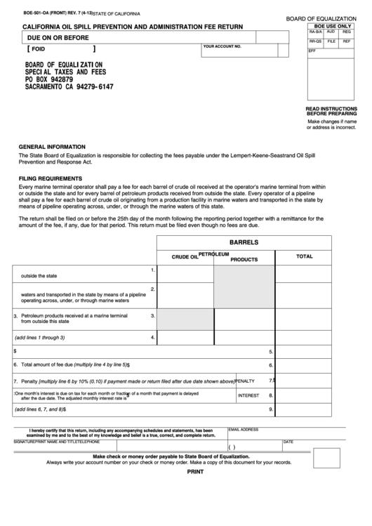 Fillable Form Boe-501-Oa - California Oil Spill Prevention And Administration Fee Return Printable pdf