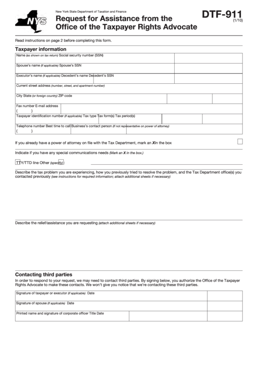 Fillable Form Dtf-911 - Request For Assistance From The Of Ce Of The Taxpayer Rights Advocate Printable pdf