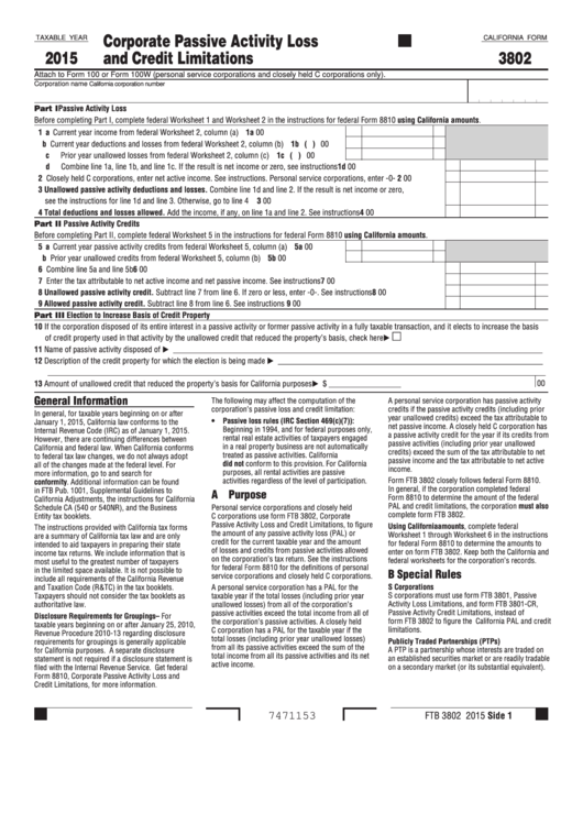 Fillable Form 3802 - California Corporate Passive Activity Loss And Credit Limitations - 2015 Printable pdf