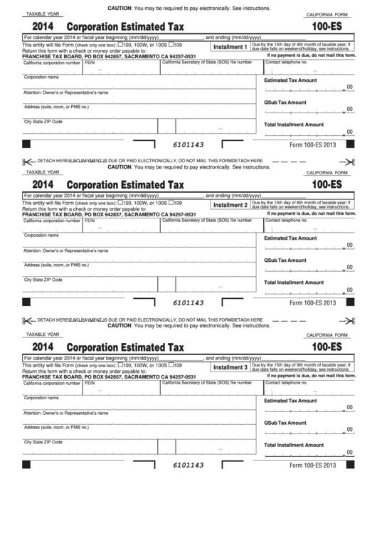 Form 100-es - California Corporation Estimated Tax - 2014