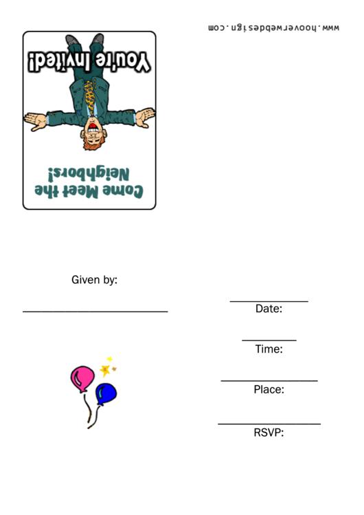 Come Meet The Neighbors Invitation Template Printable pdf