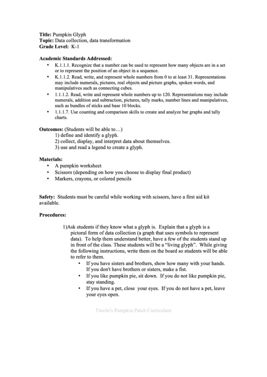 Pumpkin Glyph Lesson Plan - Grade Level K-1