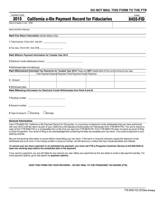 Form 8455-Fid - California E-File Payment Record For Fiduciaries - 2015 Printable pdf