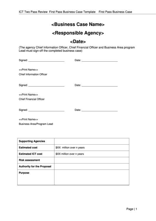 First Pass Business Case Template Printable pdf