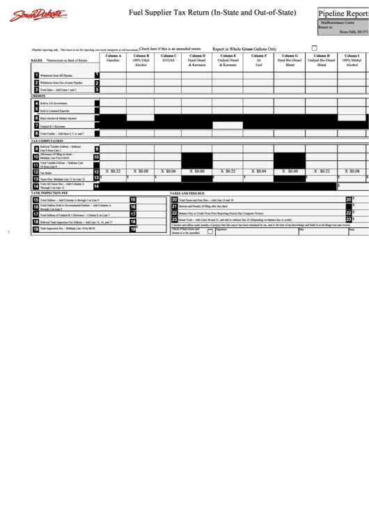 Fuel Supplier Tax Return (In-State And Out-Of-State) Printable pdf