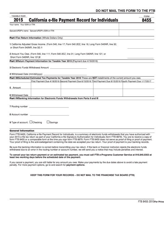 Form 8455 - California E-File Payment Record For Individuals - 2015 Printable pdf