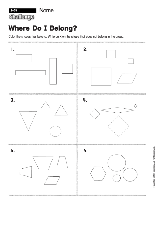 Where Do I Belong - Pattern Worksheet With Answers Printable pdf